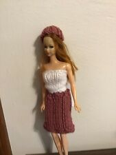 Barbie Doll 3 Piece Knitted Outfit-New Burgundy