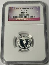 2011 AUSTRALIA KOALA SILVER 10 CENTS NGC MS69 EARLY RELEASES #G (DR)