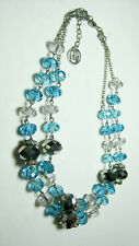 Trifari Double-Strand Necklace Turquoise Aqua Blue & Silver Beads