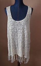 DEMOCRACY Cream Crochet Open Back Hi Lo Vest Sweater With Fringes Size 3X NWT