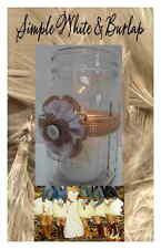 10 Primitive White Burlap Rustic Mason Jar Wedding Shower Party Decorations F10