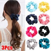 3PCS Satin Hair Scrunchies for Women Elastic Hair Bands Hair Tie Ropes Headwear