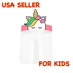 NEW! Unicorn Kids Boys Girls Face Shield Anti Splash Fog Plastic HD Clear Mask