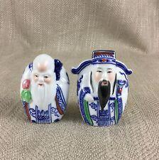 Vintage Chinese Figure Statue Sage Immortal Ornament Hand Painted Porcelain Vtg