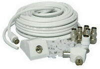 15m TV AERIAL COAXIAL CABLE EXTENSION KIT FREEVIEW CABLE PLUGS COAX LEAD