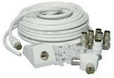 15m Antena Tv Coaxial Cable Kit de Extensiones de TDT cable se conecta Coaxial Plomo