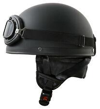 ATO Moto Retro Helm Schwarz Matt Motorradhelm Oldtimerhelm Halbschale S M L XL