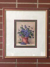 Barbara Mock Print Matted Rustic Distressed Framed Purple Violets Floral Flowers