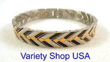 """Stainless Steel Magnetic 8-1/2"""" Bracelet Black & Gold 100,000 gauss SS68BG"""