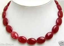 Pretty!13x18mm Red Ruby Flat Oval Beads Gemstone Necklace 18""