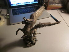 Chinese Silver on Bronze Flying Dragon Sculpture