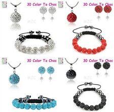 4set/lot 10mm free shipping mix crystal shamballa bracelet necklace earring set