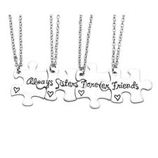 "New 4pcs Set  Alloy Always Sisters Forever Friends Necklace 20.5""L Chain Gift"