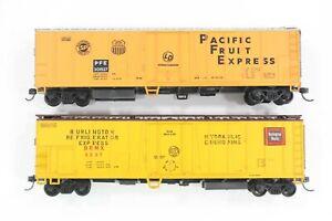 HO Athearn Burlington Route & Pacific Fruit Express 50ft Mech Refrigerator Cars