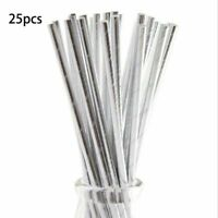 25 SILVER PAPER DRINKING STRAWS PARTY TABLE DECORATIONS BIRTHDAY ANNIVERSARY