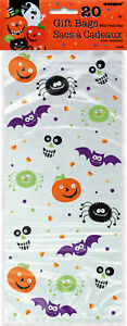 20 x Halloween Spooky Smiles Cellophane Party Treat Favour Sweet Cookie Bags