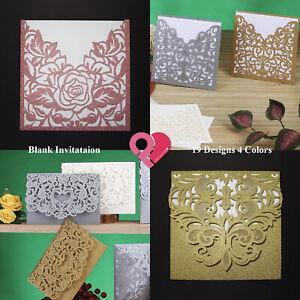 384 Bulk Floral Laser Cut Wedding Invitation Card Party Blank Inner Envelope