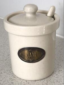 Jam Jar Pot Lid & Spoon Ceramic Pottery Labelled Vintage Kitchen Table Breakfast