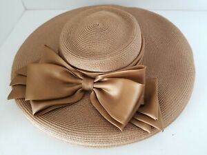 KOKIN New York Brown Straw Hat With Bow Accent YJ01