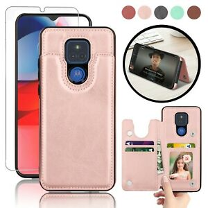 For Motorola Moto G Play 2021 Leather Wallet Card Case Cover  + Screen Protector