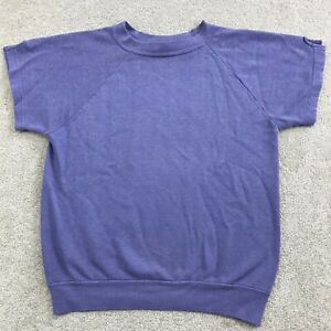 Vintage 80s Purple Raglan Crewneck Short Sleeve Sweatshirt 50/50 Women's Size S