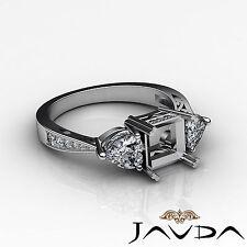 3 Stone Diamond Wedding Filigree Ring Princess Semi Mount 18k White Gold 0.82Ct