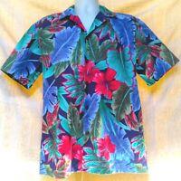 Vtg HILO HATTIE Hawaiian Aloha Camp Shirt Coconut buttons Hibiscus Men's MEDUIM
