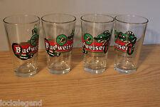 1997 Anheuser-Busch Budweiser Beer Pints 4 Lizard Glasses