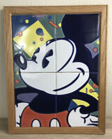 Vintage Disney Mickey Mouse Glass Tiled Framed Picture Wall Decor Art-Free Ship