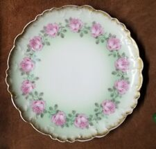 Rare Haviland France Limoges Drop Rose Scalloped Plate  with Gold and Green Trim