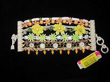 Betsey Johnson SUMMER OF LOVE WHITE METAL Flower Mixed Bead Multi-Row  Bracelet