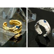 Damen Ring Unregelmäßig 5,2 g echt Sterling Silber 925 Zirkonia Blau offen