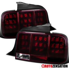 For 2005-2009 Ford Mustang Black Smoke/Red LED Sequential Tail Lights Lamps Pair