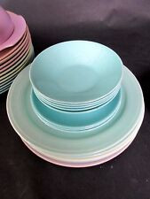 "8 pc Monterey Pottery (5) 5 1/2"" Aqua Blue Berry Bowls (3) Bread Plates 6 1/8"""