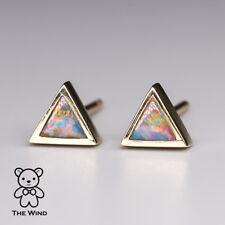 Small Minimalist Triangle Australian Doublet Opal Stud Earrings 14K Yellow Gold