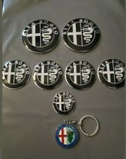 Alfa Romeo Emblem full set Car Badge Stick over Aluminium key boonet black