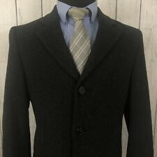 Nautica 38S Charcoal Wool Blend Button-Front Long Trench Coat / Overcoat