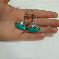 Ancient Victorian Silver Earrings TURQUOISE Stones Rare Gypsy Old Vintage