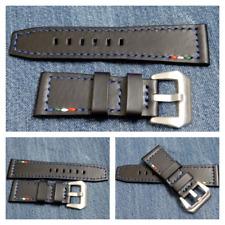 Per Panerai-cuoio nero-cinturino watch strap vera pelle 27/22 mm  pari al nuovo