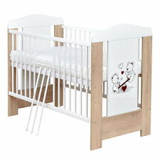 Babybett Gitterbett Kinderbett Teddybär 120x60 Sonoma, Matratze NEU