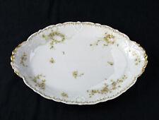 """Theo Haviland Limoges Green Rose 14"""" Oval Platter Antique France Schleiger 342 C"""
