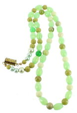 VINTAGE SHADES OF GREEN & OPALESCENT GLASS BEADED NECKLACE 22""