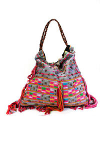 Elliot Mann Womens Leather Handle Beaded Shoulder Handbag Gray Multi Colored