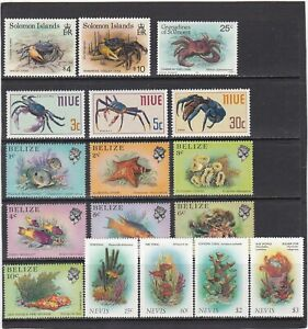 collection of 37 mint/used sea life stamps. crabs, shellfish, corals. 2 scans
