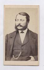 PHOTO ANCIENNE CDV Portrait Homme Barbe Vers 1870 Anonyme Chaîne montre Profil