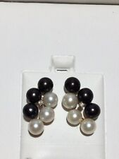 Black And White Pearl Earrings In 14kt Yellow Gold