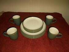 (12)pcs Dansk Plateau Green Dinnerware Set  Dinner Salad Plates Mugs