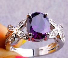Amethyst Butterfly & Sterling Silver Ring (Size 8)
