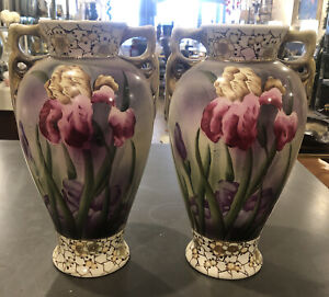 Royal Nippon Pair Of Vases With Irises