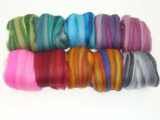 Heidifeathers  'Harmony Mix' Merino Wool Tops with Sparkle  - Felting + Spinning